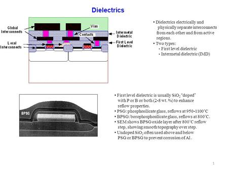 Dielectrics • Dielectrics electrically and