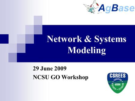 Network & Systems Modeling 29 June 2009 NCSU GO Workshop.