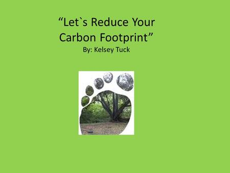 """Let`s Reduce Your Carbon Footprint"" By: Kelsey Tuck."