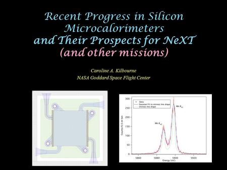 Recent Progress in Silicon Microcalorimeters and Their Prospects for NeXT (and other missions) Caroline A. Kilbourne NASA Goddard Space Flight Center.