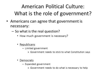 American Political Culture: What is the role of government? Americans can agree that government is necessary: – So what is the real question? How much.