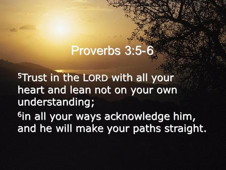 5 Trust in the L ORD with all your heart and lean not on your own understanding; 6 in all your ways acknowledge him, and he will make your paths straight.