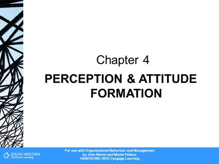 Chapter 4 PERCEPTION & ATTITUDE FORMATION.