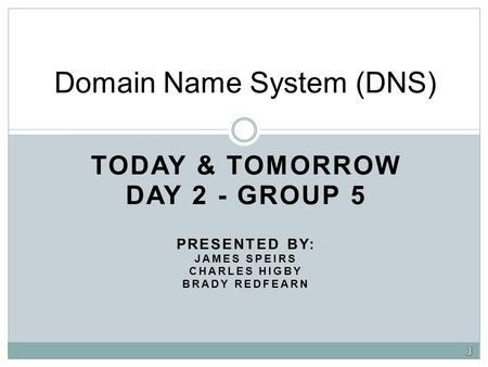 TODAY & TOMORROW DAY 2 - GROUP 5 PRESENTED BY: JAMES SPEIRS CHARLES HIGBY BRADY REDFEARN Domain Name System (DNS)