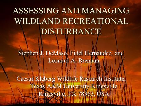 ASSESSING AND MANAGING WILDLAND RECREATIONAL DISTURBANCE Stephen J. DeMaso, Fidel Hernández, and Leonard A. Brennan Caesar Kleberg Wildlife Research Institute,
