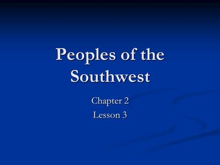 Peoples of the Southwest