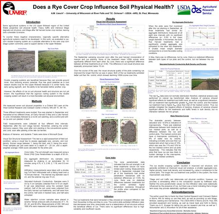 Introduction Does a Rye Cover Crop Influence Soil Physical Health? A.M. Liesch + – University of Wisconsin at River Falls and T.E. Ochsner*– USDA –ARS,