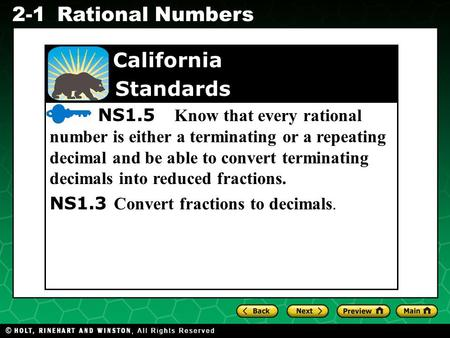 Evaluating Algebraic Expressions 2-1Rational Numbers California Standards NS1.5 Know that every rational number is either a terminating or a repeating.