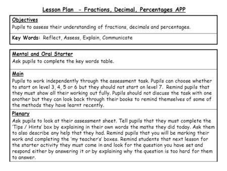 Lesson Plan - Fractions, Decimal, Percentages APP