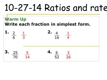 Ratios and rates Warm Up