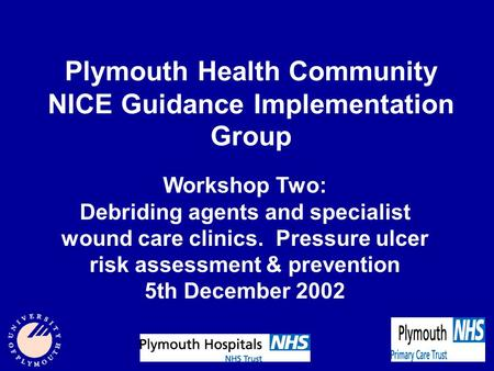 Plymouth Health Community NICE Guidance Implementation Group Workshop Two: Debriding agents and specialist wound care clinics. Pressure ulcer risk assessment.