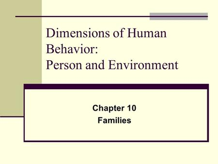 Dimensions of Human Behavior: Person and Environment Chapter 10 Families.