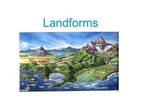 Landforms. A landform is a natural feature of the earth's surface. Mountains, hills, valleys, plains, and plateaus are all examples of landforms.