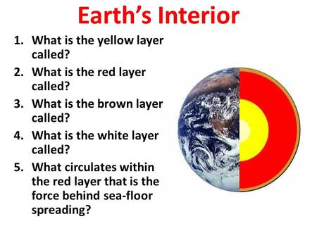 Earth's Interior 1.What is the yellow layer called? 2.What is the red layer called? 3.What is the brown layer called? 4.What is the white layer called?