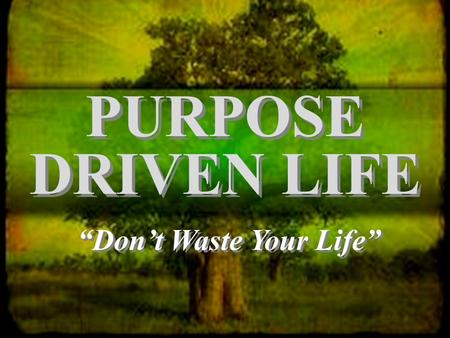 "PURPOSE DRIVEN LIFE ""Don't Waste Your Life"". ""Be careful how you live, not as fools but as those who are wise. Make the most of every opportunity for."