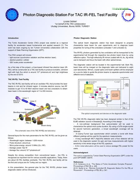 Photon Diagnostic Station For TAC IR-FEL Test Facility ILHAN TAPAN* *on behalf of the TAC collaboration Uludag Universitesi, Bursa,16059, TURKEY References.