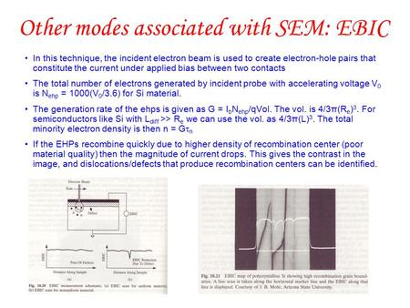 Other modes associated with SEM: EBIC In this technique, the incident electron beam is used to create electron-hole pairs that constitute the current under.