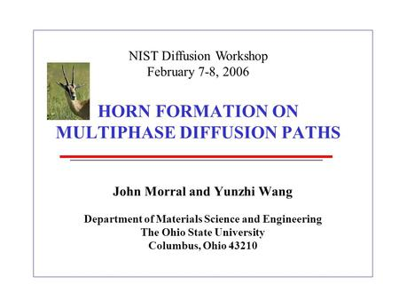 HORN FORMATION ON MULTIPHASE DIFFUSION PATHS John Morral and Yunzhi Wang Department of Materials Science and Engineering The Ohio State University Columbus,