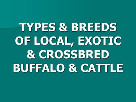TYPES & BREEDS OF LOCAL, EXOTIC & CROSSBRED BUFFALO & CATTLE.