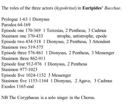 The roles of the three actors (hypokritai) in Euripides' Bacchae. Prologue 1-63 1 Dionysus Parodos 64-169 Episode one 170-369 1 Teiresias, 2 Pentheus,