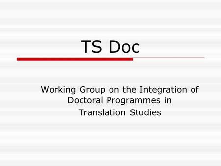 TS Doc Working Group on the Integration of Doctoral Programmes in Translation Studies.