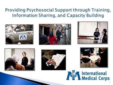 1. Dr. Inka Weissbecker, PhD, MPH Global Mental Health and Psychosocial Advisor International Medical Corps.