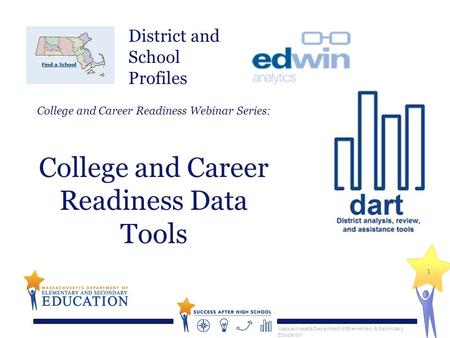 Massachusetts Department of Elementary & Secondary Education 1 College and Career Readiness Webinar Series: College and Career Readiness Data Tools District.