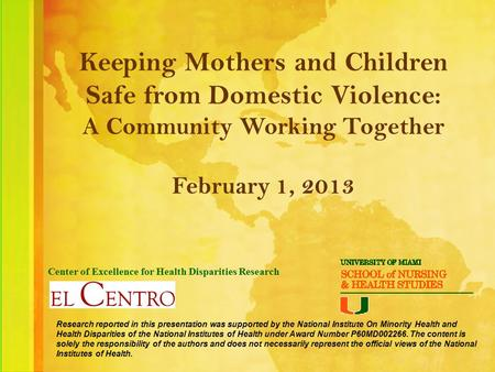 Keeping Mothers and Children Safe from Domestic Violence: A Community Working Together February 1, 2013 Center of Excellence for Health Disparities Research.
