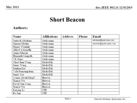 Doc.:IEEE 802.11-12/0129r3 May 2012 Santosh Abraham, Qualcomm Inc. Short Beacon Slide 1 Authors:
