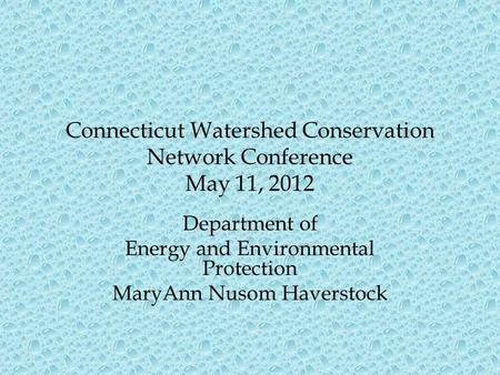 Connecticut Watershed Conservation Network Conference May 11, 2012 Department of Energy and Environmental Protection MaryAnn Nusom Haverstock.
