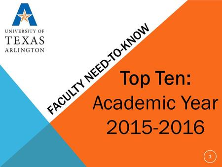 FACULTY NEED-TO-KNOW Top Ten: Academic Year 2015-2016 1.