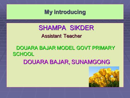 My introducing SHAMPA SIKDER SHAMPA SIKDER Assistant Teacher Assistant Teacher DOUARA BAJAR MODEL GOVT PRIMARY SCHOOL DOUARA BAJAR MODEL GOVT PRIMARY SCHOOL.