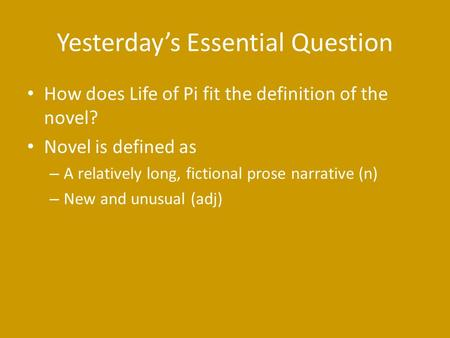 Yesterday's Essential Question