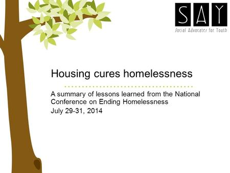 Housing cures homelessness A summary of lessons learned from the National Conference on Ending Homelessness July 29-31, 2014.