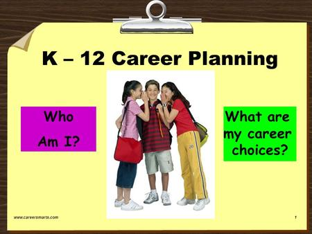 Www.careersmarts.com1 K – 12 Career Planning Susan Gubing CareerSmarts Who Am I? What are my career choices?