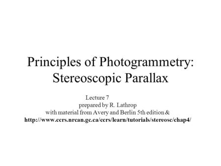 Principles of Photogrammetry: Stereoscopic Parallax