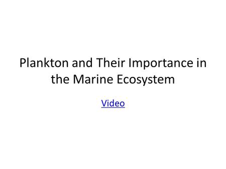 Plankton and Their Importance in the Marine Ecosystem Video.