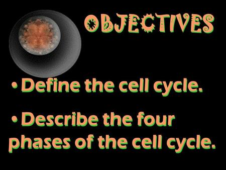 OBJECTIVES Define the cell cycle. Describe the four phases of the cell cycle. Define the cell cycle. Describe the four phases of the cell cycle.