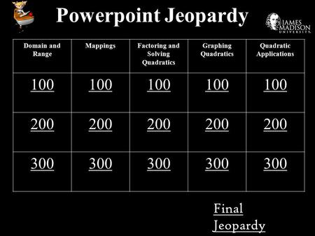 Powerpoint Jeopardy Domain and Range MappingsFactoring and Solving Quadratics Graphing Quadratics Quadratic Applications 100 200 300 Final Jeopardy.