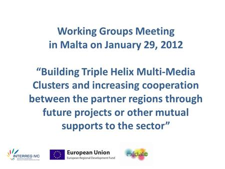 "Working Groups Meeting in Malta on January 29, 2012 ""Building Triple Helix Multi-Media Clusters and increasing cooperation between the partner regions."