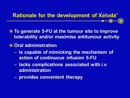 Rationale for the development of Xeloda ®  To generate 5-FU at the tumour site to improve tolerability and/or maximise antitumour activity  Oral administration.
