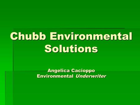 Chubb Environmental Solutions Angelica Cacioppo Environmental Underwriter.