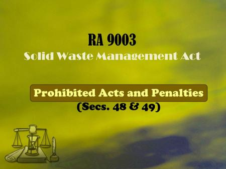 RA 9003 Solid Waste Management Act
