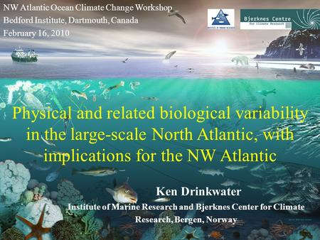 Physical and related biological variability in the large-scale North Atlantic, with implications for the NW Atlantic Ken Drinkwater Institute of Marine.