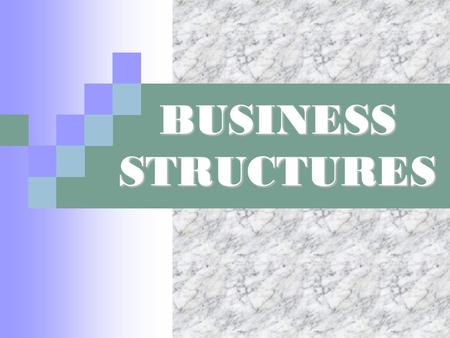 BUSINESS STRUCTURES. Types of Business Structures Sole Proprietor Partnership  General Partnership  Limited Partnership  Limited Liability Partnership.