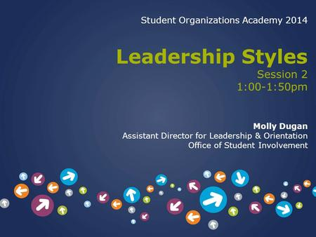 Student Organizations Academy 2014 Leadership Styles Session 2 1:00-1:50pm Molly Dugan Assistant Director for Leadership & Orientation Office of Student.