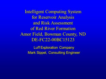 Intelligent Computing System for Reservoir Analysis and Risk Assessment of Red River Formation Amor Field, Bowman County, ND DE-FC22-00BC15123 Luff Exploration.