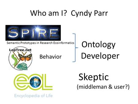 Who am I? Cyndy Parr Ontology Developer Skeptic (middleman & user?) Behavior Semantic Prototypes in Research Ecoinformatics.