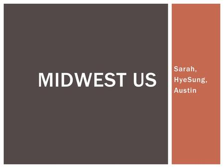 Sarah, HyeSung, Austin MIDWEST US. OVERVIEW  The Great Plain  The Great Lakes  Mississippi River  Forests GEOGRAPHICAL.