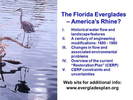 The Florida Everglades – America's Rhine? I.Historical water flow and landscape features II.A century of engineering modifications: 1880 - 1980 III.Changes.
